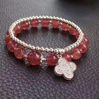 天然草莓晶手鏈+925銀豆豆珠鏈