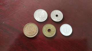 Japan Yen vintage currency coin set (5 pcs)日币