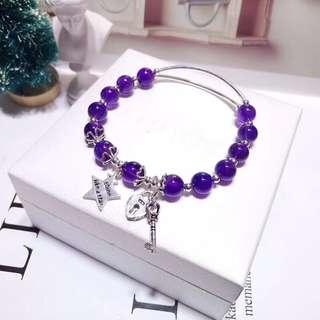 天然紫水晶單圈手鏈 配925銀愛心鎖匙吊墜