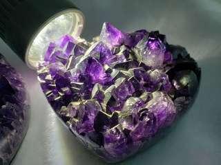 心形紫水晶一对