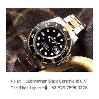 Rolex - Submariner Black Ceramic, Steel & 18K Yellow Gold 'V'