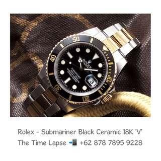 Rolex - Submariner Black Ceramic, Steel & 18K Yellow Gold 'V'
