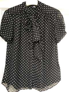 Uniqlo polkadot bow blouse