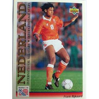 Frank Rijkaard (Netherlands) - Soccer Football Card #108 (International All-Stars) - 1993 Upper Deck World Cup USA '94 Preview Contenders