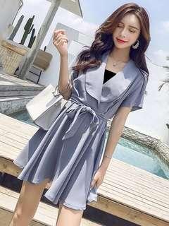 🚚 韓版時尚顯瘦V領收腰繫帶連身裙洋裝