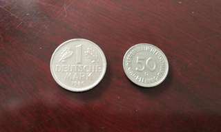 German Mark vintage coin set (2 pcs)德国马克币