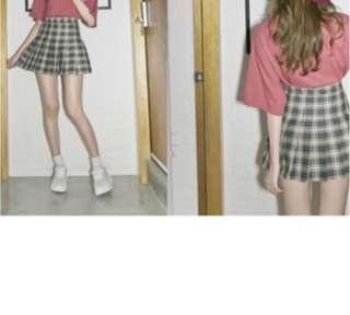 🚚 格紋百摺短裙S號