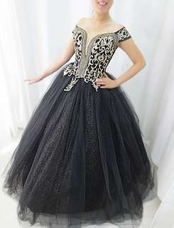 Black and gold ball gown for rent