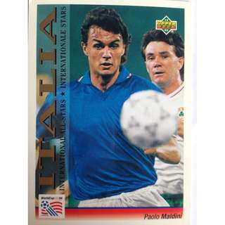 Paolo Maldini (Italy) - Soccer Football Card #104 (International All-Stars) - 1993 Upper Deck World Cup USA '94 Preview Contenders
