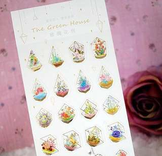 Beautiful Terrarium Gold Foil Scrapbook / Planner Stickers #137