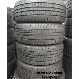 225-45-18 DUPLOP EC203 一對 車呔仔 (二手呔專門店)