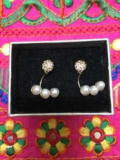 珍珠水鑽耳環
