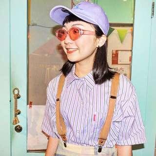 🚚 💜正韓條紋短版襯衫💜粉紫牽牛花色