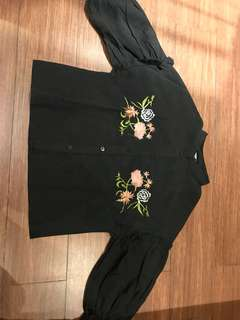 kemeja hitam embroidery