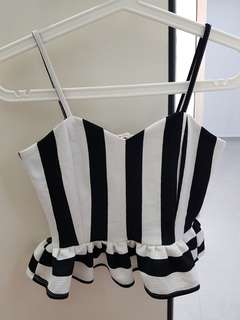 Black and White stripes cropped Top