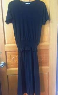 黑色顯瘦縮腰套裝