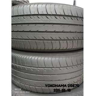 225-55-18 YOKOHAMA DBE70  一對 車呔仔 (二手呔專門店)