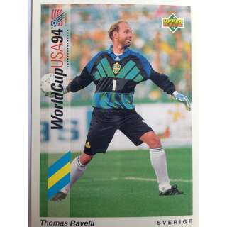 Thomas Ravelli (Sweden) - Soccer Football Card #94 - 1993 Upper Deck World Cup USA '94 Preview Contenders