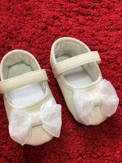 Princess Baby White Shoes with Ribbon