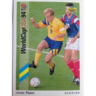 Jonas Thern (Sweden) - Soccer Football Card #87 - 1993 Upper Deck World Cup USA '94 Preview Contenders