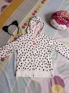 H&M Basic White with Black Spots Hoodie (US 6-8Y)