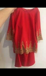 [PL] Baju Kurung budak Moden red colour 2Y (10/10)