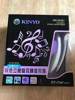 🚚 KINYO玩色立體聲耳機麥克風EM3630