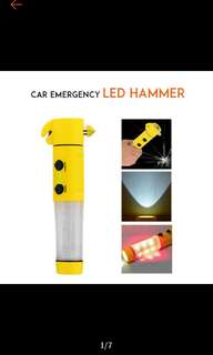 FREE POS Ready Stock Car Emergency Multipurpose Tool Alarm Break Window Hammer Light