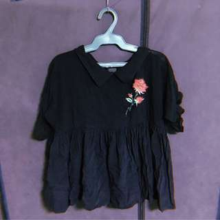 Black Top with Rose Patch