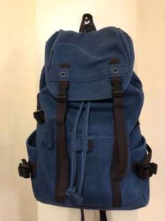 Denim backpack with side pockets