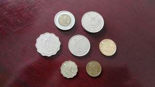 Hongkong of China vintage currency coin set (7 pcs)中国香港币