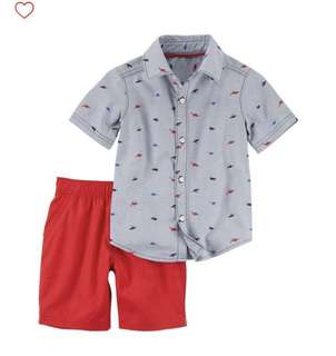 BN Carters Baby Boy Dino Print Shirt Set with Red Shorts 18mths available!
