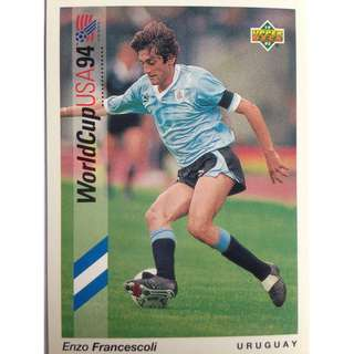 Enzo Francescoli (Uruguay) - Soccer Football Card #84 - 1993 Upper Deck World Cup USA '94 Preview Contenders