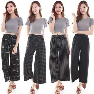 ✔Stretchy Checkered / Stripes / Abstract Pattern / Plain Bow Long Pants (Multi-colors)
