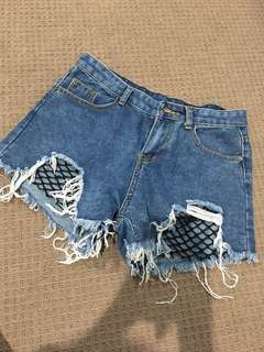 High waste distressed shorts