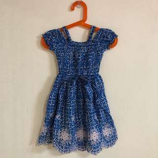 🚚 韓國製女童藍色雕花小洋裝(約適4-5y)