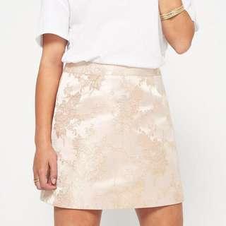 Miss Selfridge Pink and Gold Jacquard Skirt