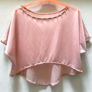 Sheer Pearl Crop Top in Baby Pink