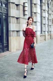 Red Off shoulder lace Elegant Dress