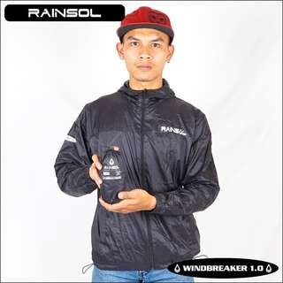 Jaket Rainsol Windbreaker / Anti Angin Hitam