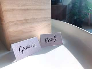 Wedding calligraphy name place card
