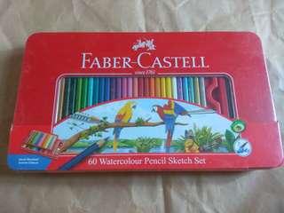 全新未開 德國 Faber Castell 輝柏嘉 水溶性 木顏色 水彩素描鉛筆 60色 鐵盒裝