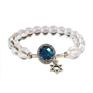 天然白水晶配925貓眼裝飾手鏈