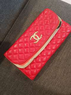 Chanel inspired red quilted clutch