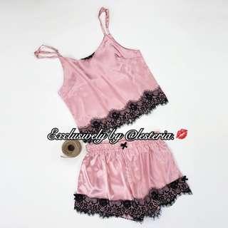 Satin Lace Trim Pajama Lounge Set (Blush Pink)