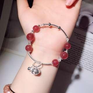 天然草莓晶+施華洛世水晶+925銀飾