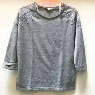 New Look - Grey Mesh Stud Top