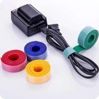 自粘魔術貼電線綁帶 固定帶 束帶 電線整理 方便 自己剪裁 可重覆使用 每卷1米長 wire cable