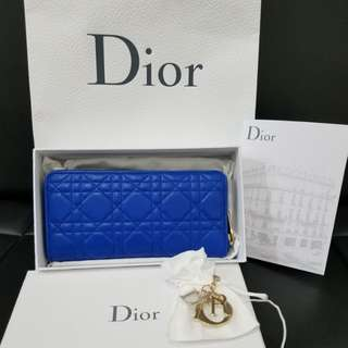 AUT DIOR BLUE ELECTRIC ZIPPY WALLET