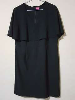 Get Laud Plus Black Dress with Flowy Details